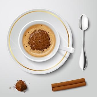 Copo branco realista com cappuccino