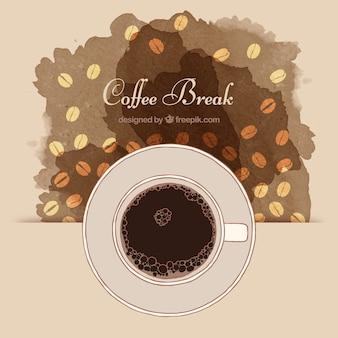 Copo de café com fundo abstrato