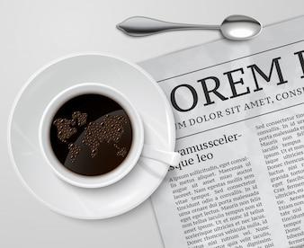Copo de café no jornal