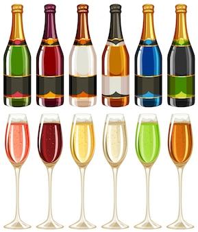 Copo de vinho e garrafa em várias cores, ilustração