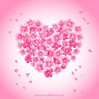 Coração com flores de cerejeira