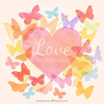 Coração da aguarela com borboletas fundo