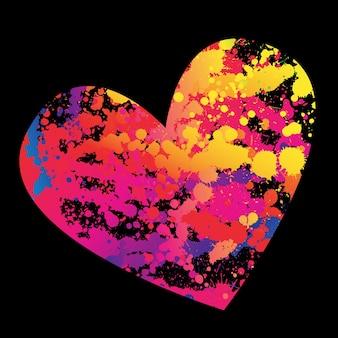 Coração de estilo grunge colorido