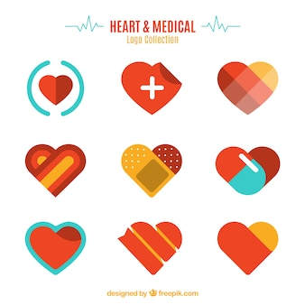 Coração e logotipo médico coleção
