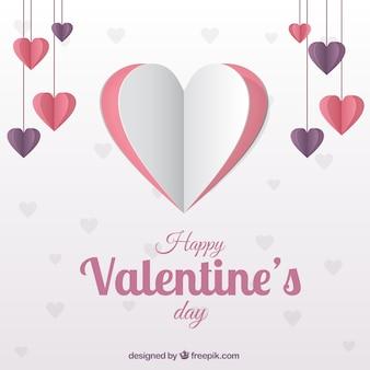 Coração feito de papel para o Valentim