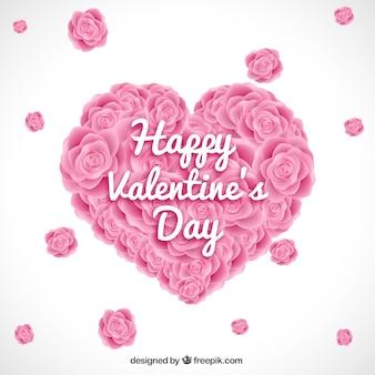 Coração feito de rosas fundo