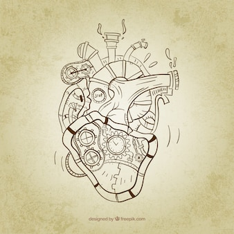 Coração steampunk esboçado