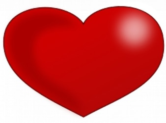 Coração vermelho brilhante Valentim