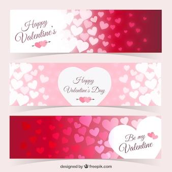 Corações banners embalar para o dia dos namorados