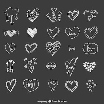 Corações desenhados mão