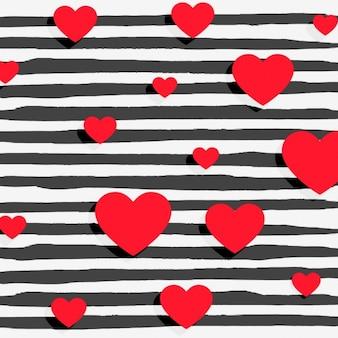 Corações vermelhos no fundo das listras preto
