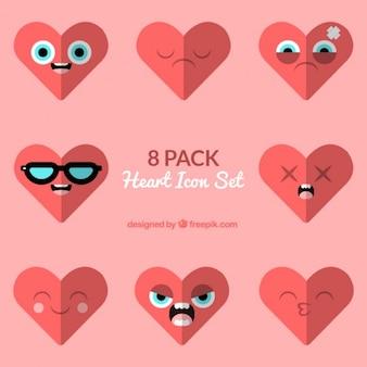 Corações com caretas