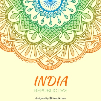 Cores ornamentos India Dia da República fundo