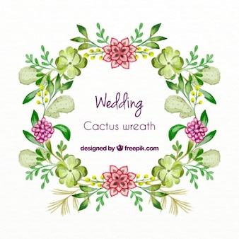 Coroa de flores da aguarela com cactus