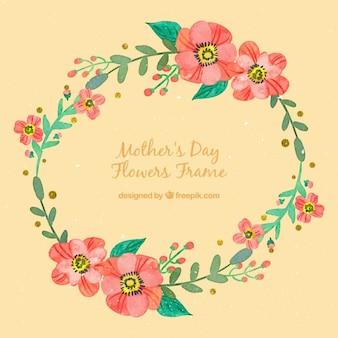 coroa de flores da aguarela para o dia das mães