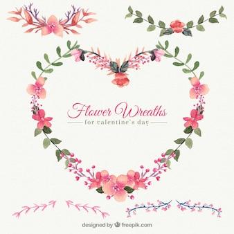 Coroa de flores na forma do coração