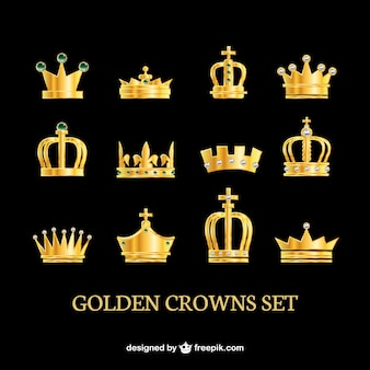 Coroas douradas ajustadas