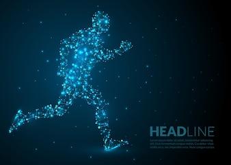 Correndo homem ilustração científica