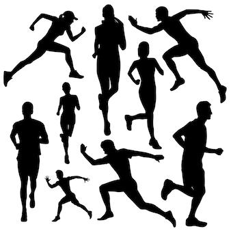 Correndo pessoas silhuetas