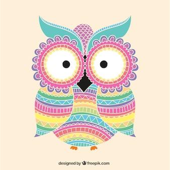 Coruja colorida com ornamentos