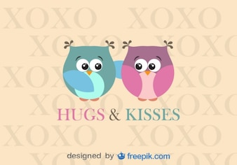 Corujas abraçando design de cartão Dia dos Namorados