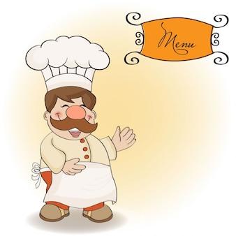 Cozinheiro chefe de sorriso e menu