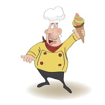 Cozinheiro chefe engraçado com gelado