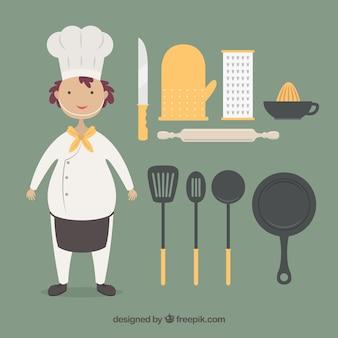 Cozinheiro chefe engraçado com utensílios de cozimento
