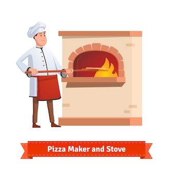 Cozinheiro chefe prepara pizza para um forno de pedra de tijolo