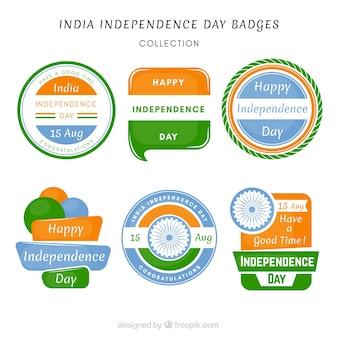 Crachás indianos com cores da bandeira