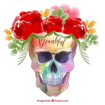 Crânio colorido com flores decorativas