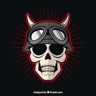 Crânio com capacete e desenhados mão chifres