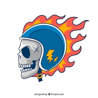 Crânio com chamas capacete
