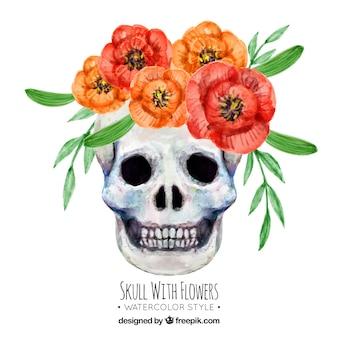 Crânio decorativa com flores da aguarela