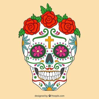 Crânio do açúcar colorido com rosas