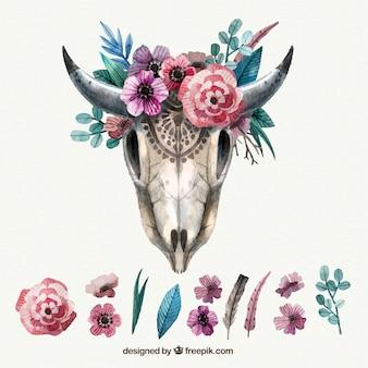 Crânio do animal do vintage com decoração floral