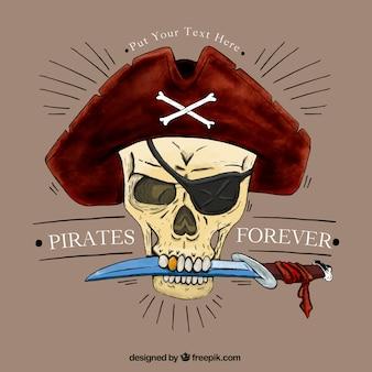 Crânio do pirata com um fundo da faca