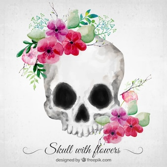 Crânio floral pintado com aguarela