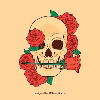 Crânio florido com uma rosa na boca