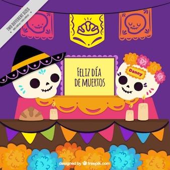 Crânios mexicanos com guirlandas