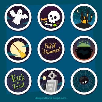 Creepy variedade de rótulos de Halloween
