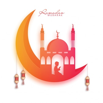 Crescente, cumprimento, lua, namaj, ramadan