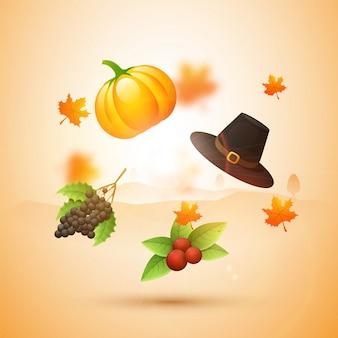 Criação de objetos criativos do Dia de Ação de Graças.