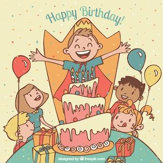 Criança que comemora seu aniversário