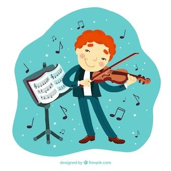 Criança que joga um violino com um suporte de música