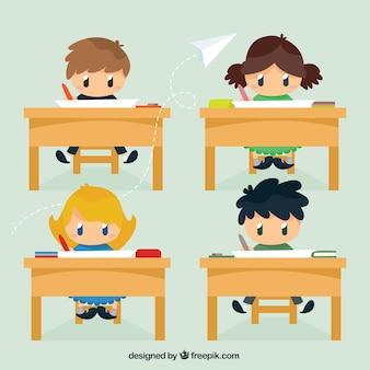 Crianças agradáveis na sala de aula