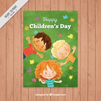 Crianças aquarela que encontram-se no folheto grama