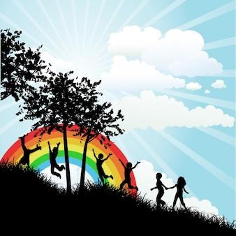 Crianças e arco-íris Silhueta fundo