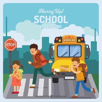 Crianças e ônibus escolar com design plano