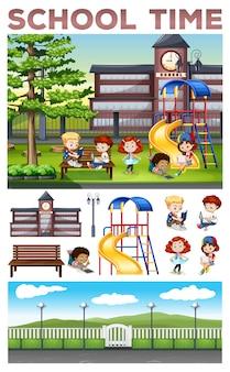 Crianças fazendo atividades na ilustração da escola